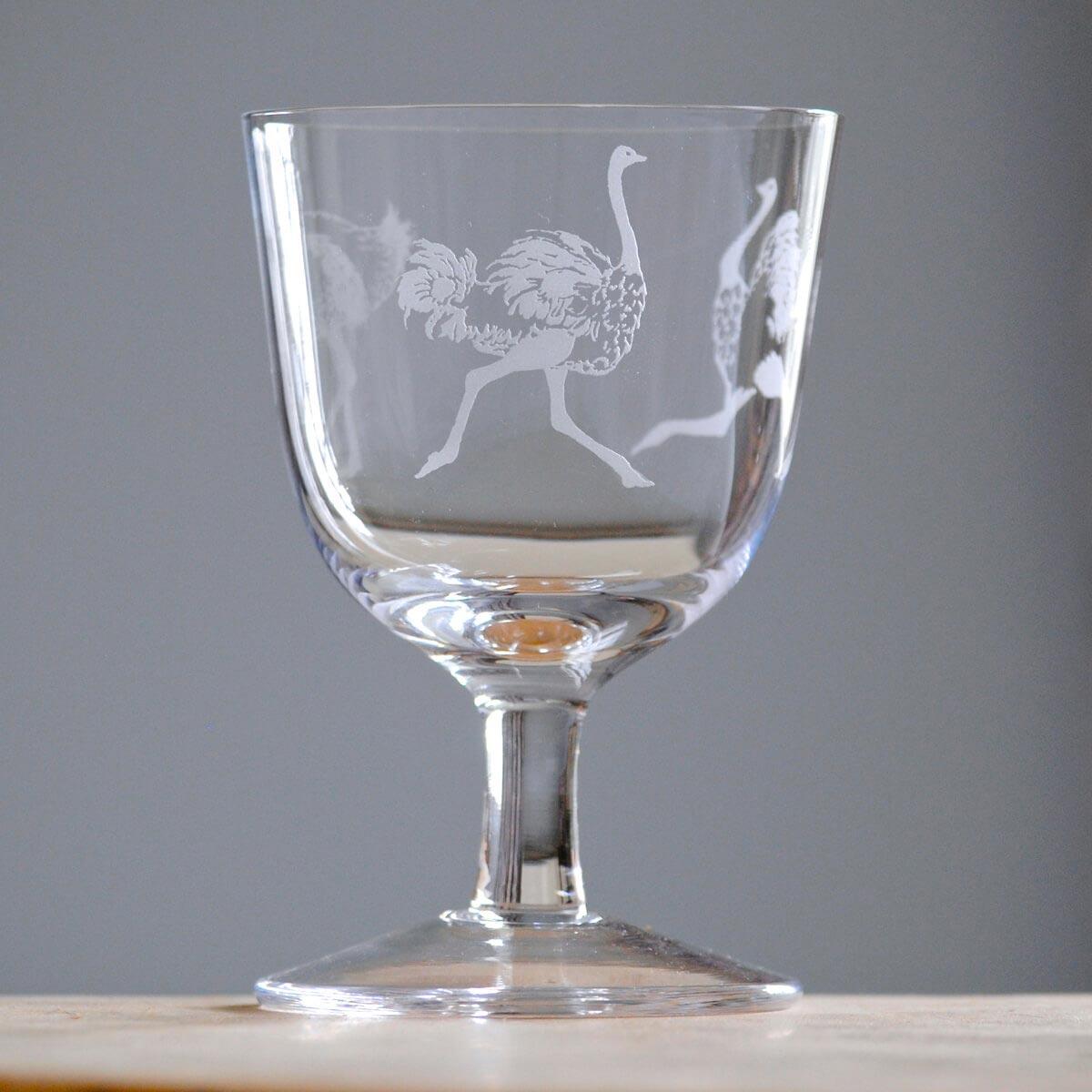 Clarissa stemmed glass Ostrich